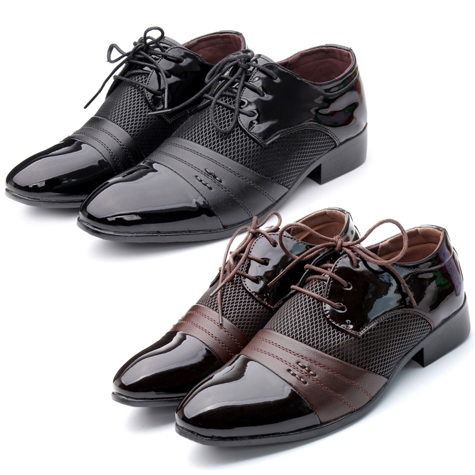 Men's Lace Up Oxfords Leather Shoes Breathable Wedding Dress Business Casual New 1