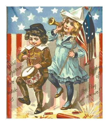 Vintage 4th of July Kids w Flag DIGITAL Counted Cross Stitch Pattern Needlepoint
