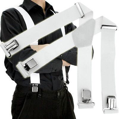 White Mens 50mm Wide Braces Plain Heavy Duty Suspender Elastic Adjustable](White Suspenders)