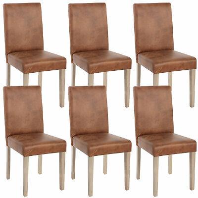6x Esszimmerstuhl Littau, Textil, Wildlederimitat, Beine Struktur - Eiche - Polyester Wildleder Stuhl