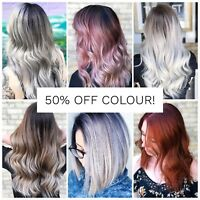 Half off any colour, balayage, or highlights service!