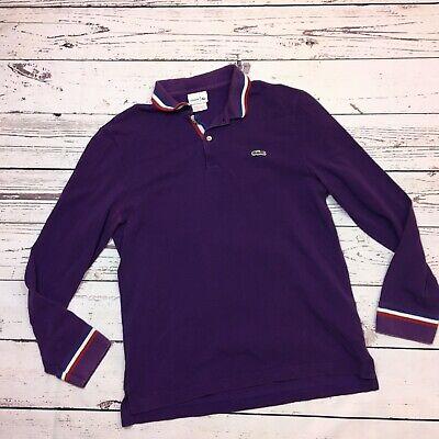 Vintage Lacoste Men's Long Sleeve Polo Shirt Mens Size 5 Large Purple