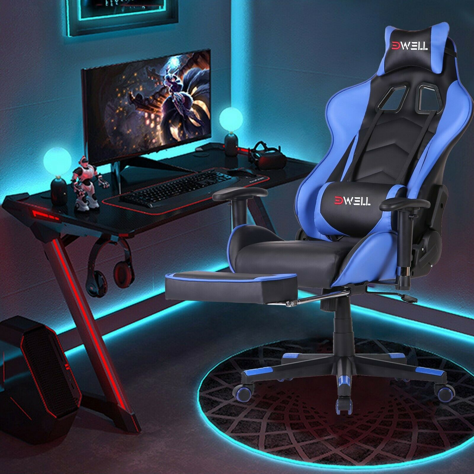 ✅ERGONOMIC GAMING RACING CHAIR COMPUTER DESK SWIVEL OFFICE
