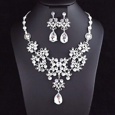 Daisy Clear Rhinestones Crystal Necklace Earrings Set Bridal Prom Party N40 Crystal Daisy Necklace Earrings