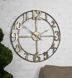 NEW LARGE 32 ANTIQUED SILVER HAND FORGED METAL OPEN DESIGN ROUND WALL CLOCK
