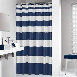 Merveilleux Extra Long Shower Curtain 72 X 78 Inch Sealskin Nautica Stripes Blue And  White F