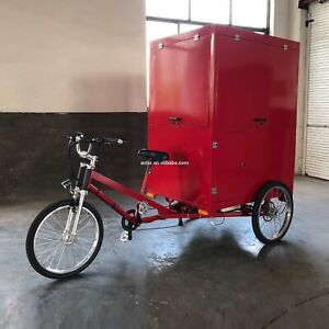 Yellow Electric cargo bike tricycle