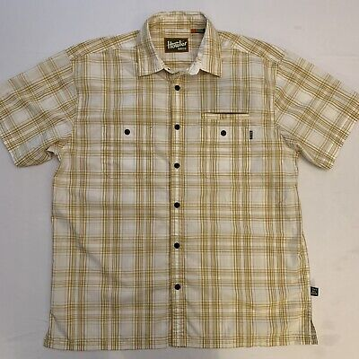 Howler Brothers Bros Mens Short Sleeve Button Shirt Plaid Large White/Tan Nice!!