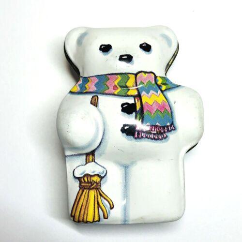 Dana Kubick Hunky Dory Christmas White Bear Scarf Tin Collectible England 2.5in