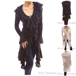 Elegant-Ruffle-Flounce-Collar-Asym-Long-Sweater-Cardigan