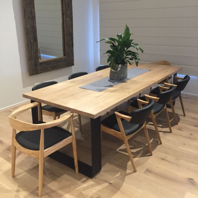 King dining table metal loop legs rounded corners dining for Gumtree beauty table