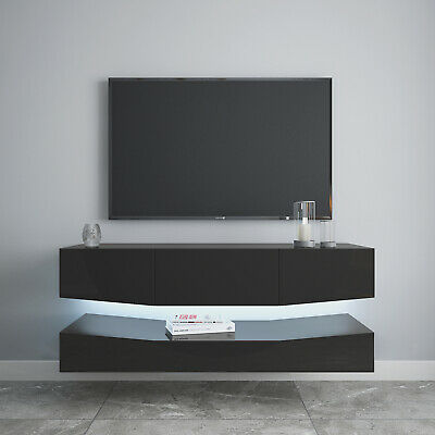 50inch Floating TV Stand Entertainment Center 2 Layer LED Wall Mounted Console