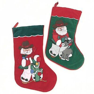 Lot of 2 Vintage Velvet Cactus Donkey Embroidered Green Red Christmas Stockings Embroidered Velvet Stockings
