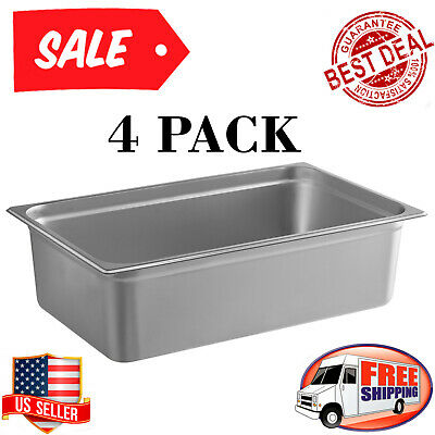 Ful Size 6 Deep Stainless Steel Steam Table Hotel Buffet Restaurant Pans -4pack