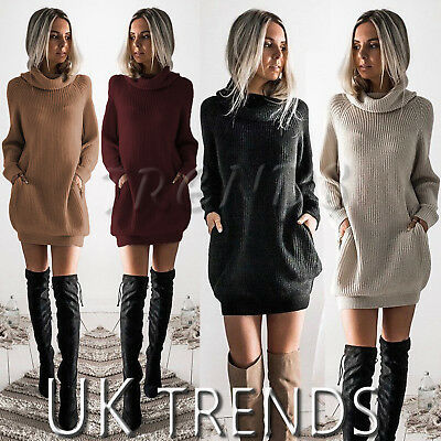 UK Womens Chunky Knitted Dress Roll Neck Jumper Dress Ladies Mini Size 6-14 Neck Knitted Dress
