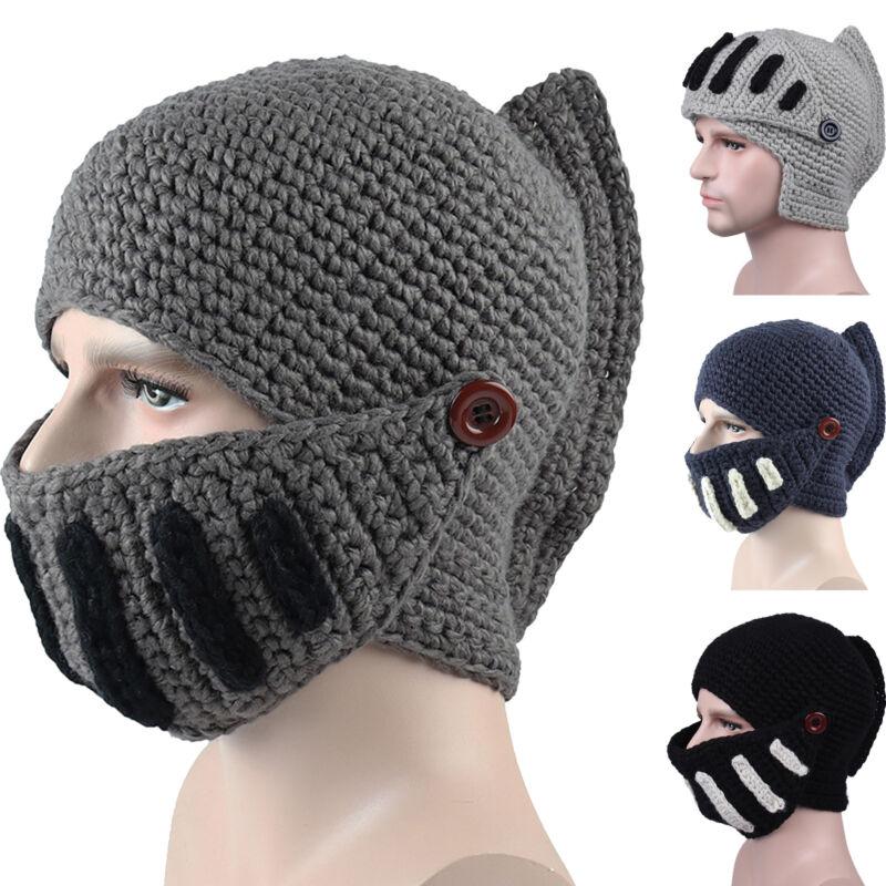 Mens Winter Crochet Knit Beanie Hats Roman Knight Helmet Fac