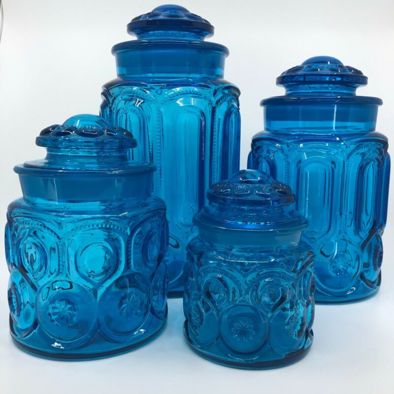 LE SMITH Blue MOON & STAR Canister Set - Set of 4