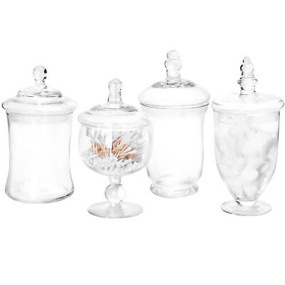 MyGift Set of 4 Clear Glass Apothecary Jars / Candy Buffet Containers with Lids](Candy Jar Buffet Set)