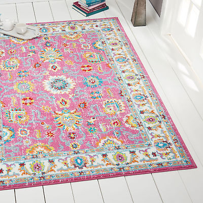 Hot Pink Modern Transitional Oriental Area Rug Bordered Vines Floral Carpet (Hot Pink Carpet)