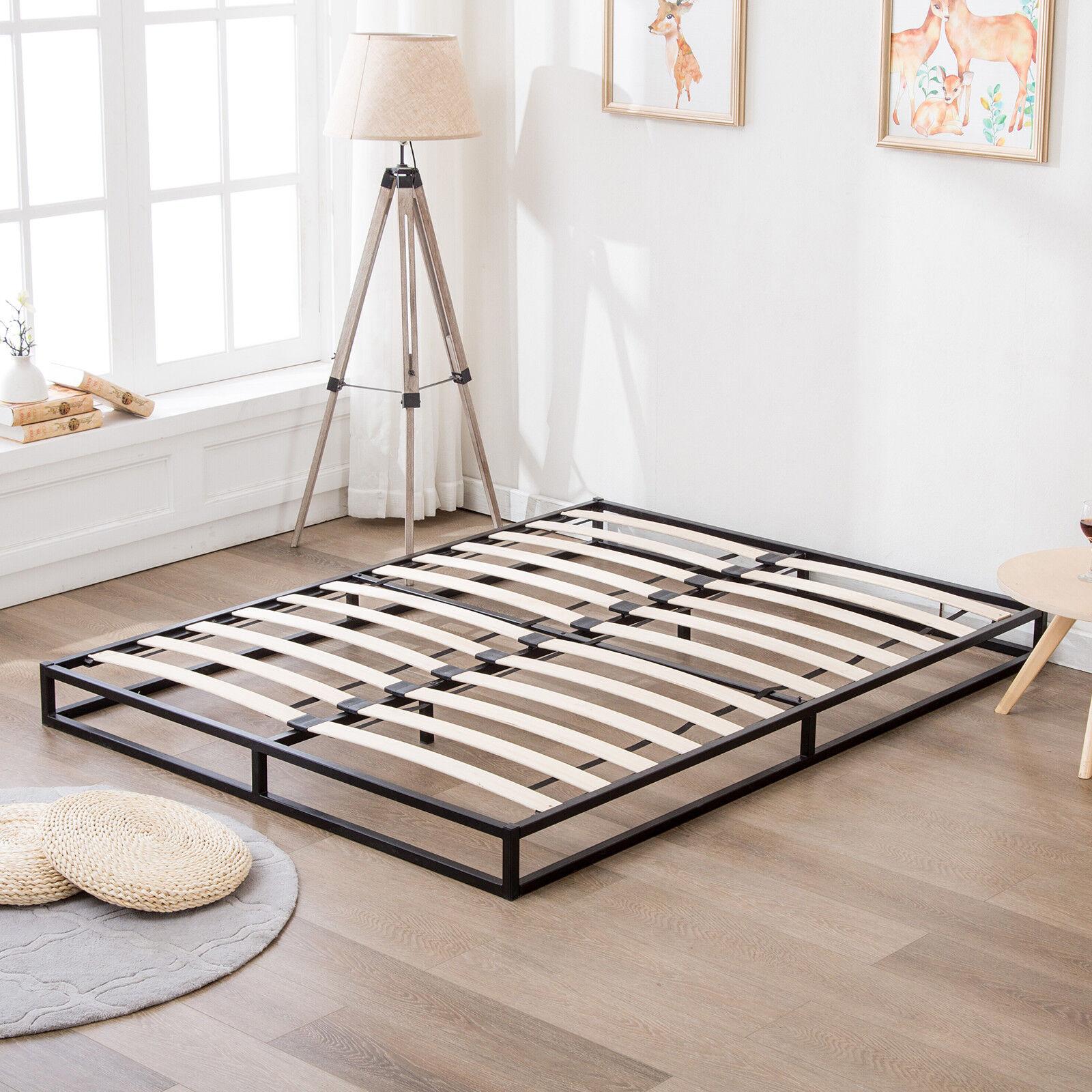 King Size Metal Bed Frame Platform w/ Wood Slats Mattress Foundation ...