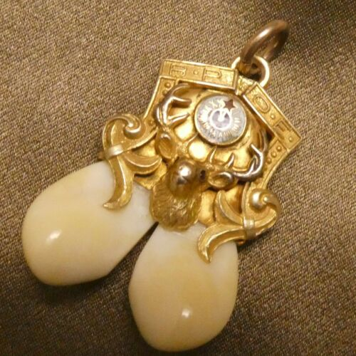 14K Solid Yellow Gold BPOE ELKS Double Tooth Watch Fob Charm Pendant Ruby Eyes