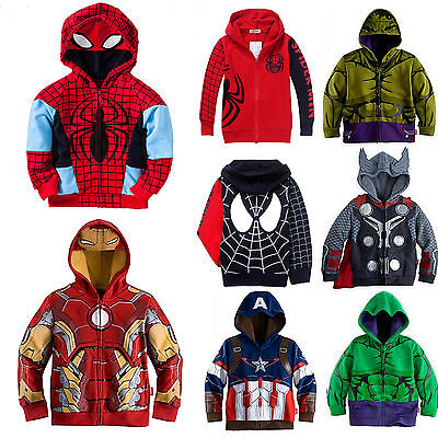 Spiderman Clothes For Boy (Kids Boy Hero Spiderman Hooded Sweatshirt Jacket Coat Cosplay Clothes Outwear)