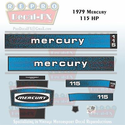 1979 Mercury 115 HP Outboard Reproduction 14 Piece Marine Vinyl Decals for sale  Peterborough