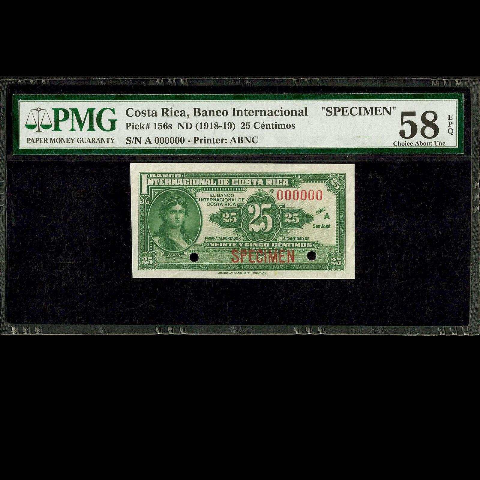 Costa Rica 25 Centimos ND (1918-19) Specimen PMG 58 Choice About UNC EPQ P-156s