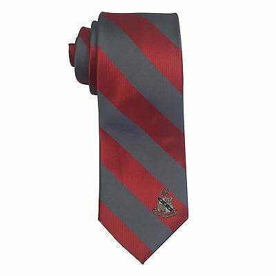 Alpha Sigma Phi Striped Crest Design Tie   Brand New Product