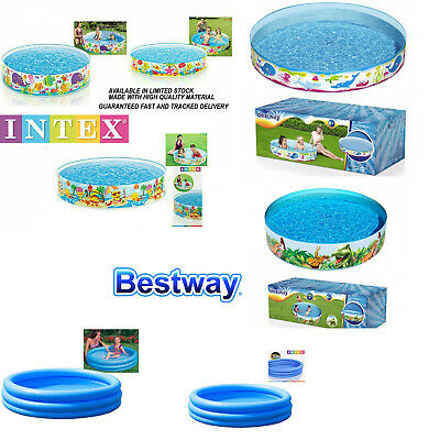 Intex Kids Children Fun Rigid Paddling Swimming Pool 4FT 5FT 6FT Garden Play Dog