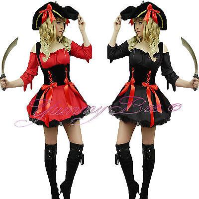 Plus Size Women Pirate Costume (Yummy Bee Pirate Fancy Dress Costume Women Caribbean Plus Size 6-22 + SWORD)