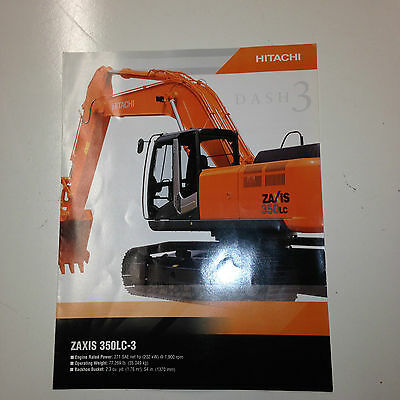 Hitachi Zaxis 350lc-3 Hydraulic Excavator Sales Brochure Specifications.
