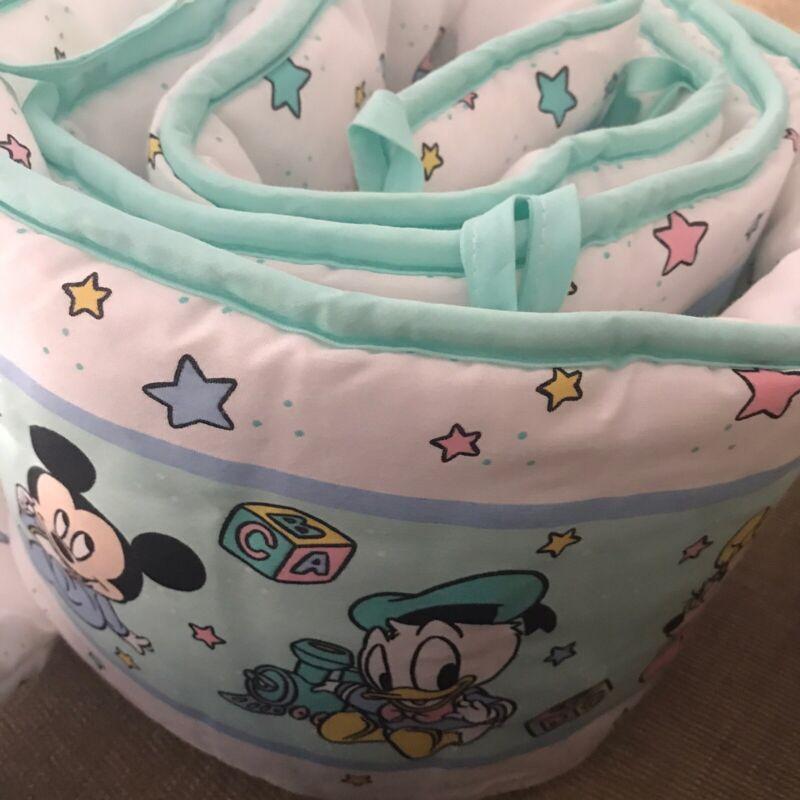 Vintage DUNDEE DISNEY BABIES Crib BUMPER PAD bedding Mickey Minnie Mouse
