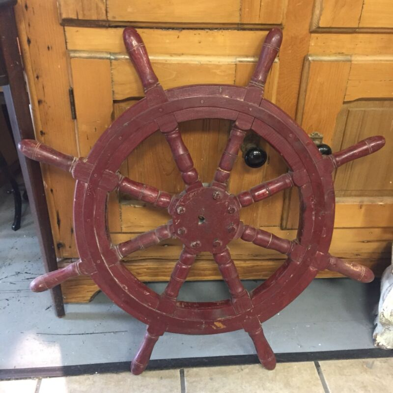 Antique Vintage Style Red Ships Wheel Iron Wood Nautical Steering Helm 8 Spoke