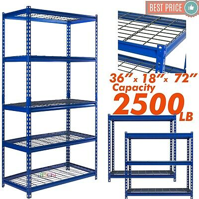 Heavy Duty Metal Muscle Rack Wire Shelving Storage 36w X 18d X 72h 5 Shelves