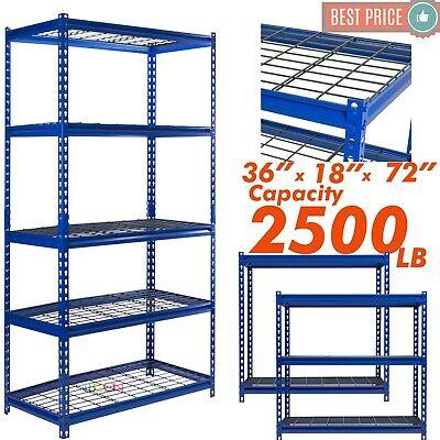 Heavy Duty Metal Muscle Rack Wire Shelving Storage 36w X 18d X 72h 5 Shelves