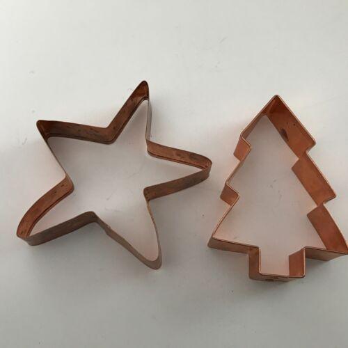 2 Vintage Large Heavy Duty Gauge Riveted Copper Cookie Cutters - Star & Tree