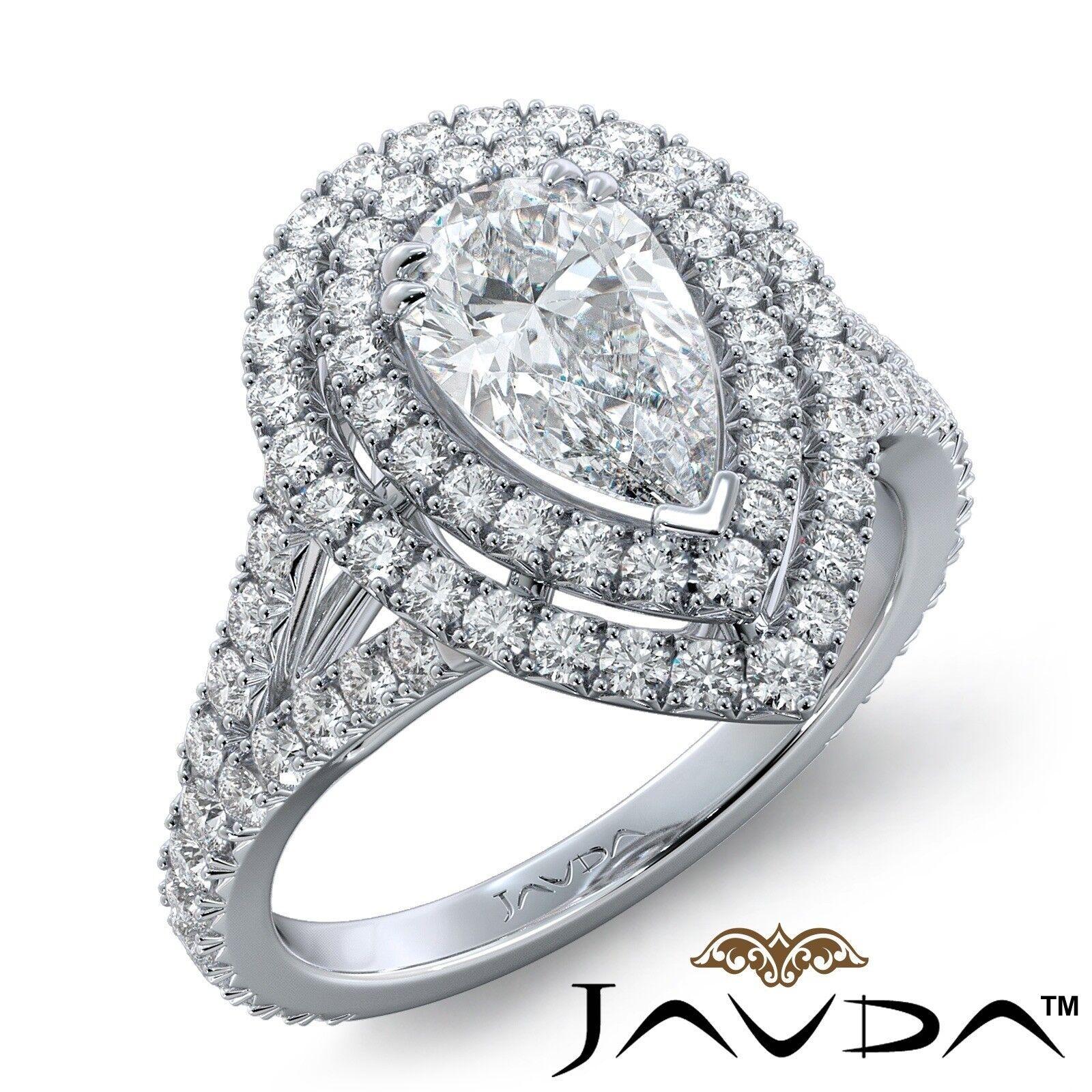 2.12ct Double Halo Split Shank Pear Diamond Engagement Ring GIA E-SI1 White Gold