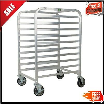 10 Pan Rack End Load Half Height Bun Sheet Baking Commercial Aluminum Bakery