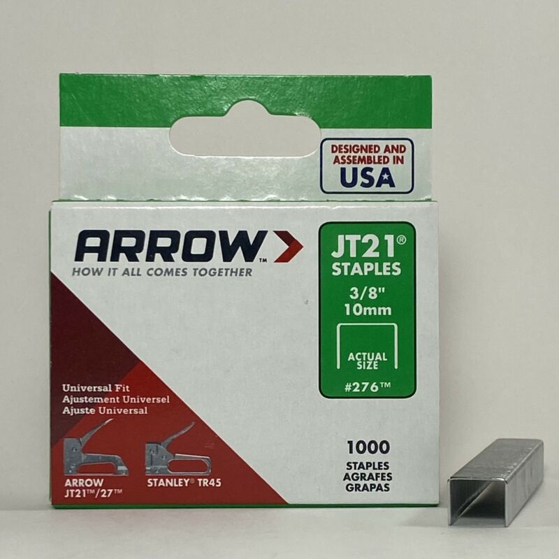 Arrow Fasteners 3/8 Inch JT21 Staples Gun Staples #276 | 1000 Pack
