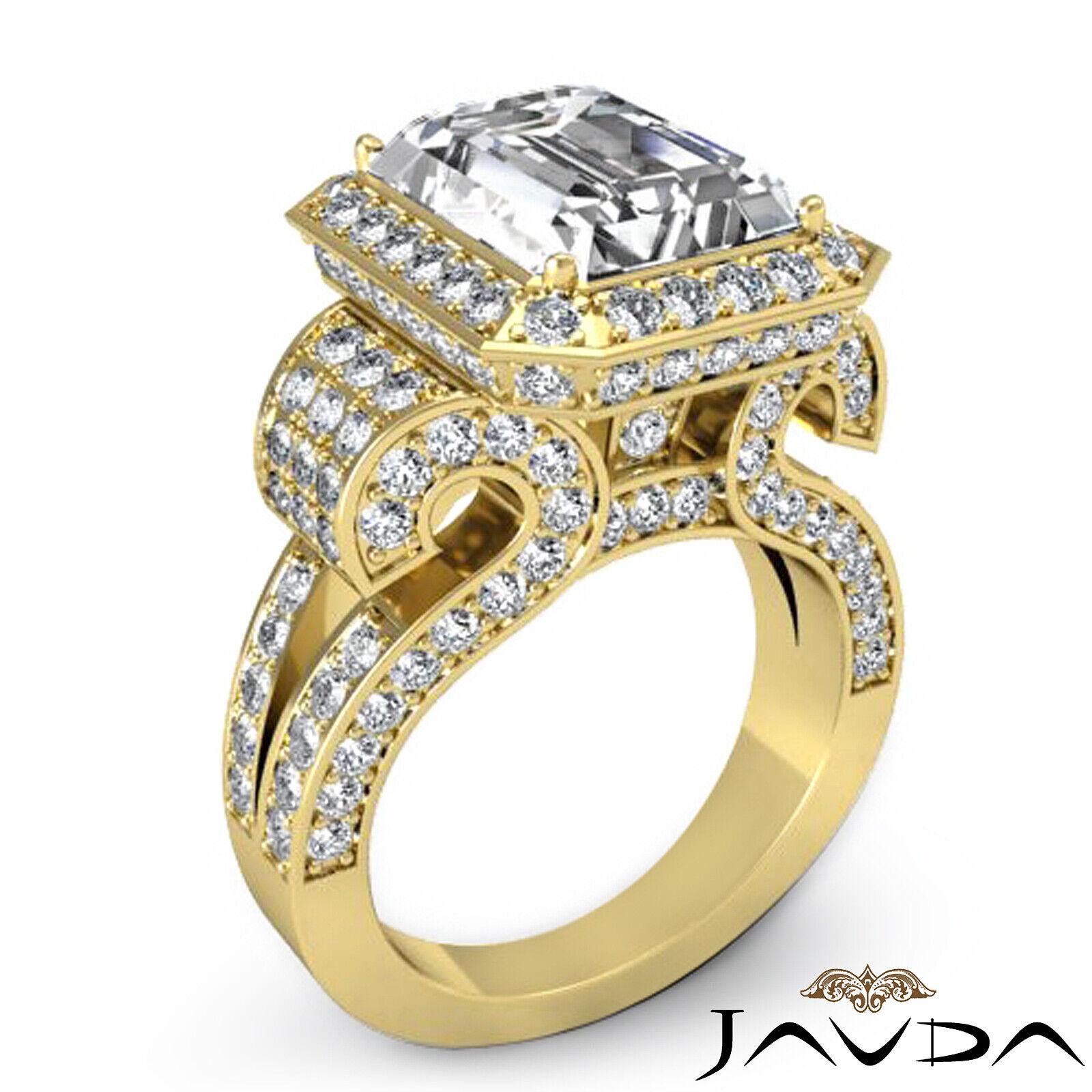 4.4ctw Antique Vintage Halo Emerald Diamond Engagement Ring GIA I-VS1 White Gold 8
