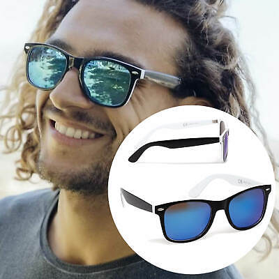 Retro Nerd Sonnenbrille Herren Damen 100% UV-400 Schwarz blau Verspiegelt