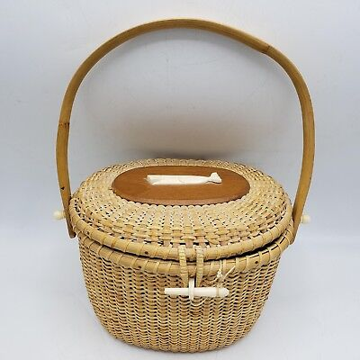 Vintage Hong Kong Woven Nantucket Basket w/ Faux Scrimshaw Whale Carving for sale  Shipping to Canada