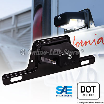 OLS LED License Plate Lights w/Bracket Trailer RV Truck Boat - Black Housing