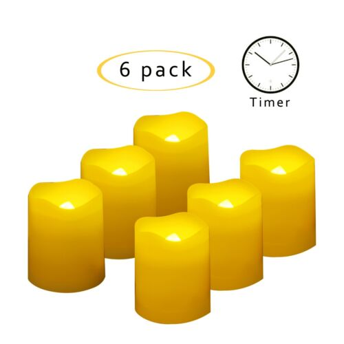 Flameless LED Battery Operated Votive Candles with Timer 6-Pack Long Lasting