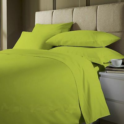 Plain Dyed Lime Green Fitted,Flat Bed Sheet Single,Double,King Pillow Cases  ()