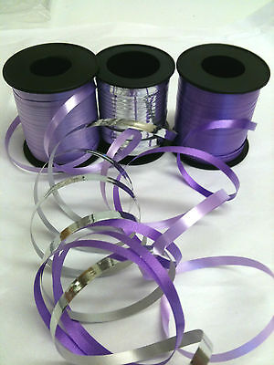 Pack of 3 curling ribbon in lilac, deep purple and silver