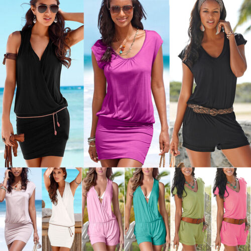 Sommer Damen Kurz Overall Jumpsuit Stretch Tunika Minikleid Strandkleid Gr.34-44