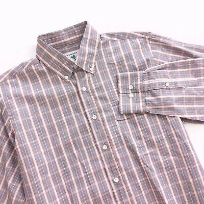 Gant Michael Bastian Mens Button Up Long Sleeve Shirt Size Large Pink Grey Plaid