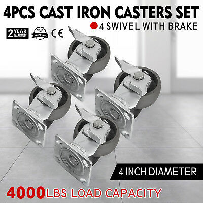 4 Heavy Duty Semi Steel Cast Iron Swivel Casters Wbrakes 4000 Lb Capacity 4pcs